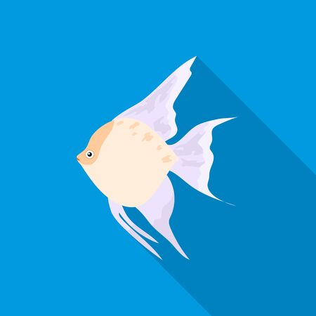 Angelfish common fish icon flat. Singe aquarium fish icon from the sea,ocean life flat. Illustration