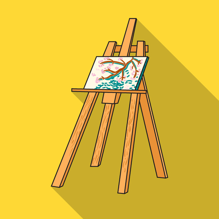 Easel with masterpiece icon in flat style isolated on white background. Artist and drawing symbol stock vector illustration.