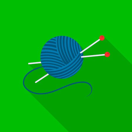 Yarn and needles icon of vector illustration for web and mobile