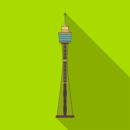 sydney skyline: Sydney Tower icon in flat style isolated on white background. Australia symbol stock vector illustration.