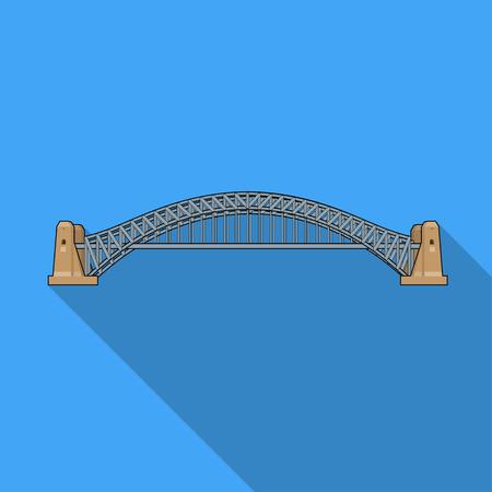 Sydney Harbour Bridge icon in flat style isolated on white background. Australia symbol stock vector illustration. Illustration
