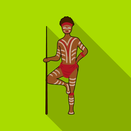 Astralian aborigine icon in flat style isolated on white background. Australia symbol stock vector illustration. Illustration