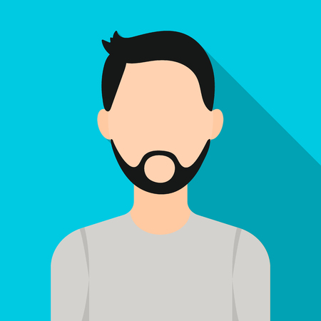 Man with beard icon flat. Single avatar icon.
