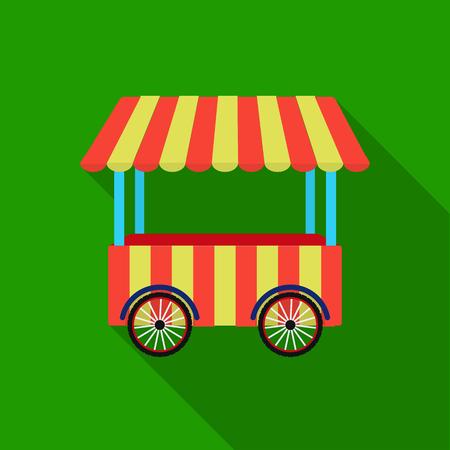 carretto gelati: Icona del carrello snack in stile piano isolato su priorità bassa bianca. Illustrazione di vettoriali stock simbolo circo.