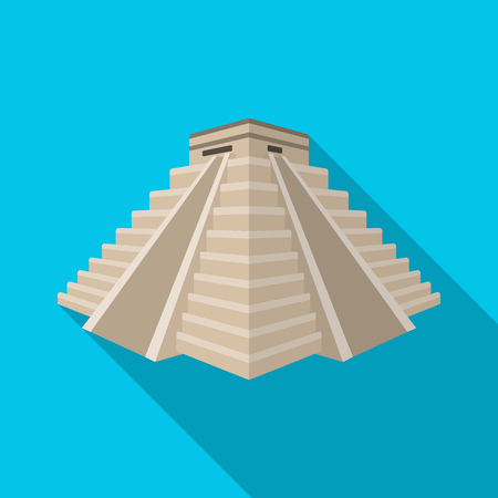 kukulkan: Chichen Itza icon in flat style isolated on white background. Countries symbol stock vector illustration.