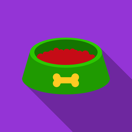 Dog bowl vector icon in flat style for web Illustration
