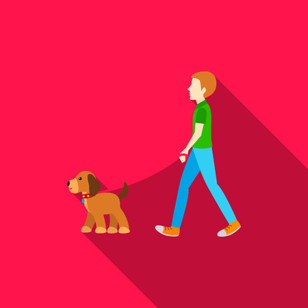 dog walking: Dog walk vector icon in flat style for web Illustration