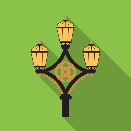 Street light icon in flat style on green background. England country symbol stock vector illustration.