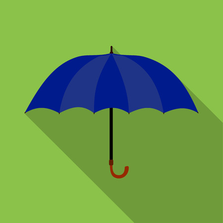 Umbrella icon in flat style on green background Illustration