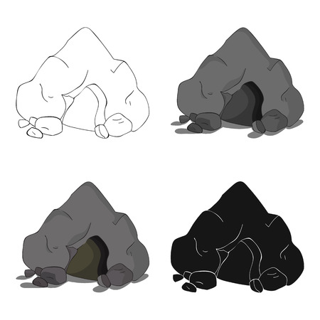 Cave icon in cartoon style isolated on white background. Stone age symbol stock vector illustration.