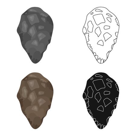 habilis: Stone tool icon in cartoon style isolated on white background. Stone age symbol vector illustration. Illustration