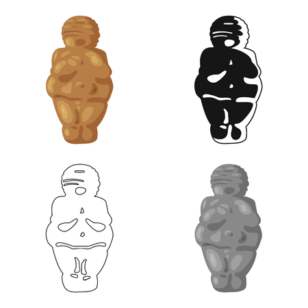 paleolithic: Venus of stone age icon in cartoon style isolated on white background. Stone age symbol vector illustration.