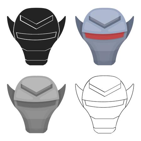 Superheros helmet icon in cartoon style isolated on white background. Superheros mask symbol stock vector illustration. Illustration