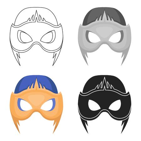 Full head mask icon in cartoon style isolated on white background. Superheros mask symbol stock vector illustration. Illustration