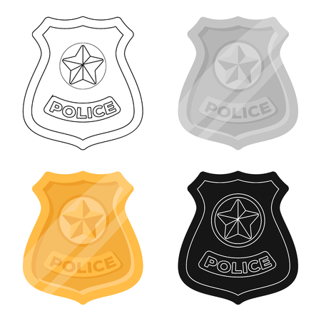 bage: Police badge icon in cartoon style isolated on white background. Police symbol stock vector illustration. Illustration