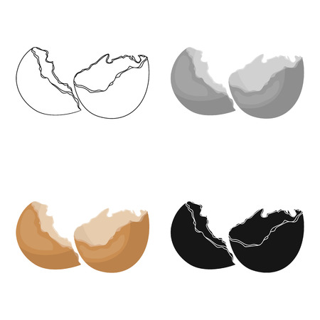 Broken eggshell icon in cartoon style isolated on white background. Trash and garbage symbol stock vector illustration.