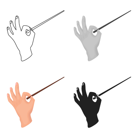 maestro: Conductor orchestra icon in cartoon style isolated on white background. Theater symbol stock vector illustration