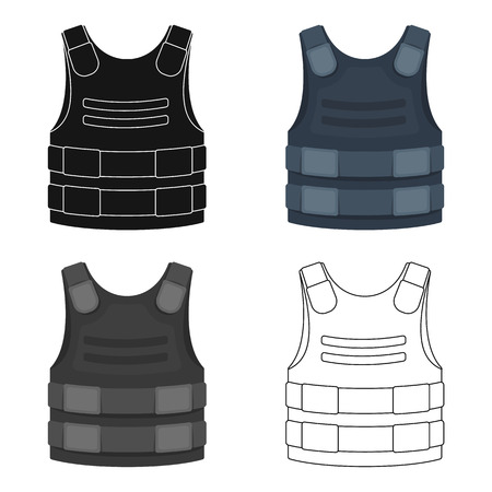 Bulletproof vest icon in cartoon style isolated on white background. Police symbol stock vector illustration.