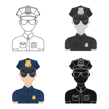 Police officer icon in cartoon style isolated on white background. Police symbol stock vector illustration.