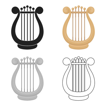 Harp icon in cartoon style isolated on white background. Theater symbol stock vector illustration