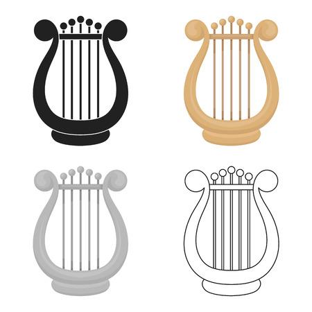 Harp pictogram in cartoon stijl geïsoleerd op een witte achtergrond. Theater symbool stock vector illustratie