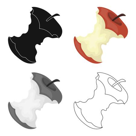 Trozo de icono de manzana en estilo de dibujos animados aislado sobre fondo blanco. Ilustración de vector stock de símbolo de basura y basura. Foto de archivo - 76831666