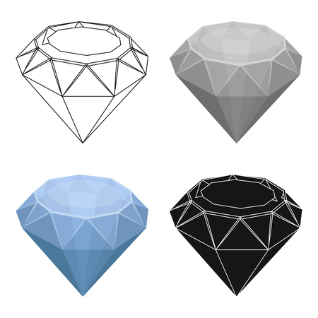 Diamond icon in cartoon style isolated on white background. Precious minerals and jeweler symbol stock vector illustration.