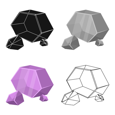 Purple rough gemstone icon in cartoon style isolated on white background. Precious minerals and jeweler symbol stock vector illustration.