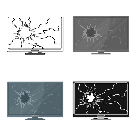corroded: Broken television icon in cartoon style isolated on white background. Trash and garbage symbol stock vector illustration. Illustration