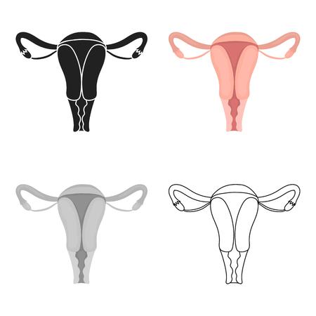 Uterus icon in cartoon style isolated on white background. Pregnancy symbol stock vector illustration.
