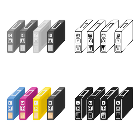 Ink cartridges in cartoon style isolated on white background. Typography symbol stock vector illustration. Illustration