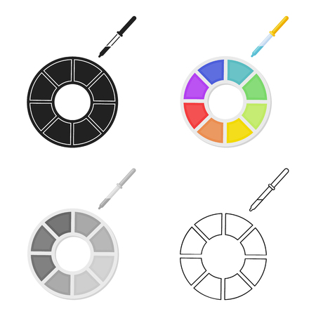 Color wheel icon in cartoon style isolated on white background. Typography symbol stock vector illustration.