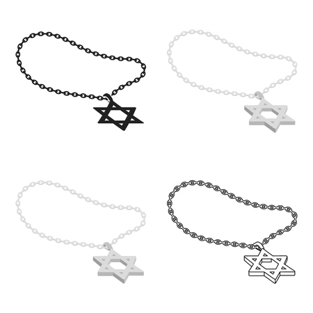 lavaliere: Star of David icon in cartoon style isolated on white background. Religion symbol stock vector illustration.