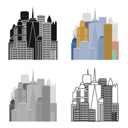 megapolis: Megalopolis icon in cartoon style isolated on white background. USA country symbol stock vector illustration. Illustration