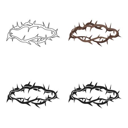 Corona De Espinas En Icono De Estilo De Dibujos Animados Aislado En