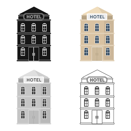 jorney: Hotel building icon in cartoon style isolated on white background. Rest and travel symbol stock vector illustration. Illustration
