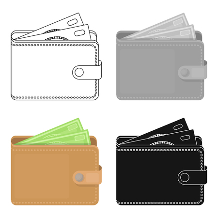 jorney: Wallet with cash icon in cartoon style isolated on white background. Rest and travel symbol stock vector illustration.