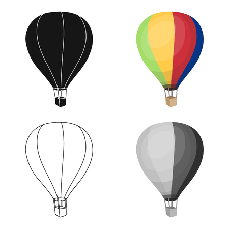 aeronautics: Airballoon icon in cartoon style isolated on white background. Rest and travel symbol stock vector illustration.