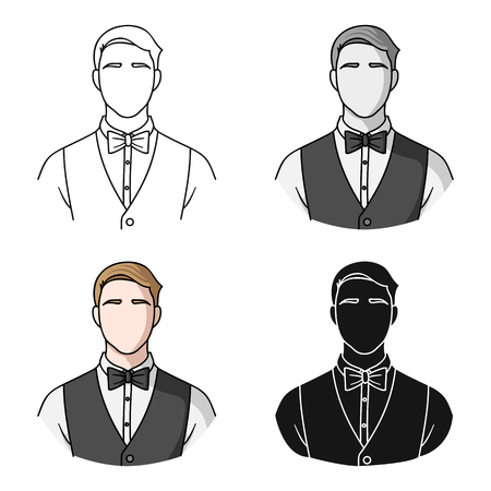 Restaurant waiter with a bow tie icon in cartoon style isolated on white background. Restaurant symbol stock vector illustration.