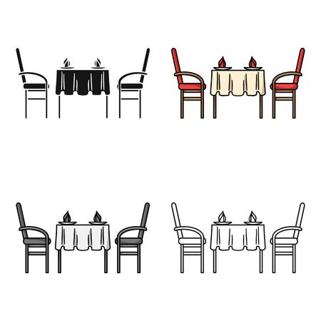 Icono de mesa de restaurante en estilo de dibujos animados aislado sobre fondo blanco. Restaurante símbolo stock vector ilustración. Vectores