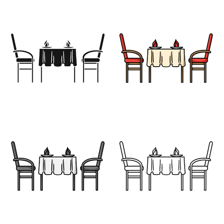 Restaurant table icon in cartoon style isolated on white background. Restaurant symbol stock vector illustration.