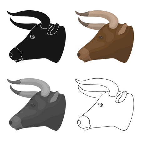 Head of bull icon in cartoon style isolated on white background. Rodeo symbol stock vector illustration.