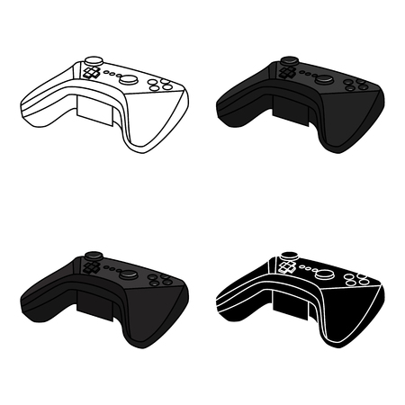 Game controller for the virtual reality icon in cartoon style isolated on white background. Virtual reality symbol stock vector illustration.