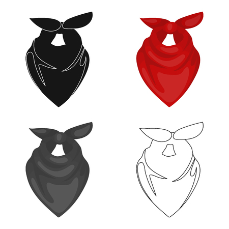 Cowboy bandana icon in cartoon style isolated on white background. Rodeo symbol stock vector illustration. Illustration