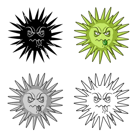 Green virus icon in cartoon style isolated on white background. Viruses and bacteries symbol stock vector illustration.