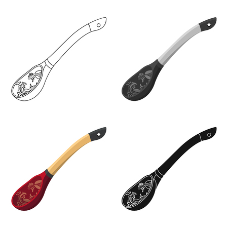 country kitchen: Russian traditional wooden spoon icon in cartoon style isolated on white background. Russian country symbol stock vector illustration. Illustration