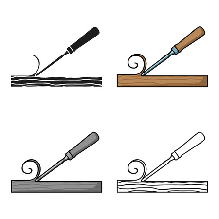 trinchante: Chisel icon in cartoon style isolated on white background. Sawmill and timber symbol stock vector illustration.