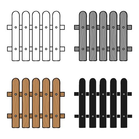 dissociation: Fence icon in cartoon style isolated on white background. Sawmill and timber symbol stock vector illustration.