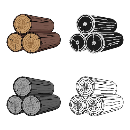 Stack of logs icon in cartoon style isolated on white background. Sawmill and timber symbol stock vector illustration.