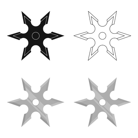 Metal shuriken icon cartoon. Single weapon icon from the big ammunition, arms set. Illustration